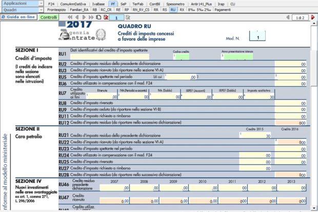 Quadro RU – Crediti di imposta concessi a favore dell'impresa