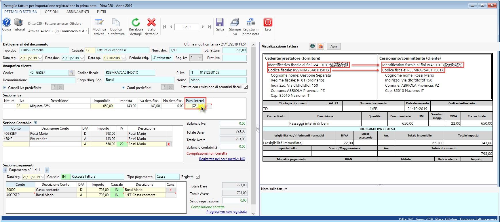 Contabilità separata: registrazione passaggi interni - 1