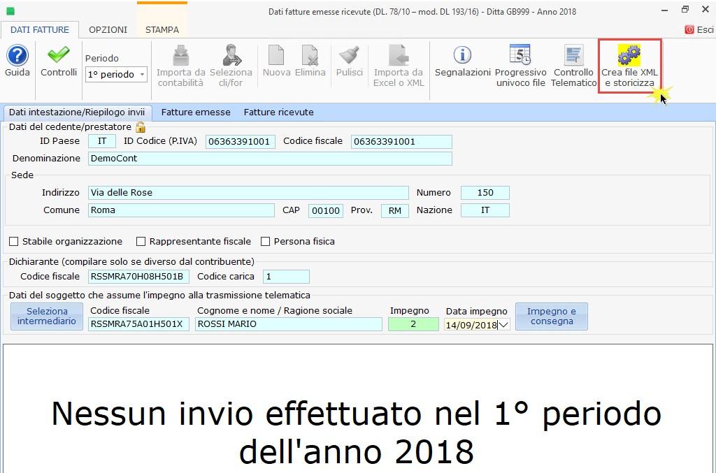 Dati Fatture 2018 (Nuovo Spesometro): 1° semestre - Creazione, invio e scarico ricevute - 1