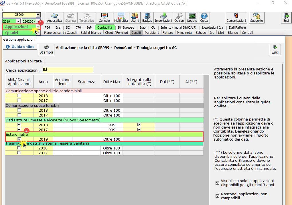 Esterometro 2019: rilascio applicazione - 1