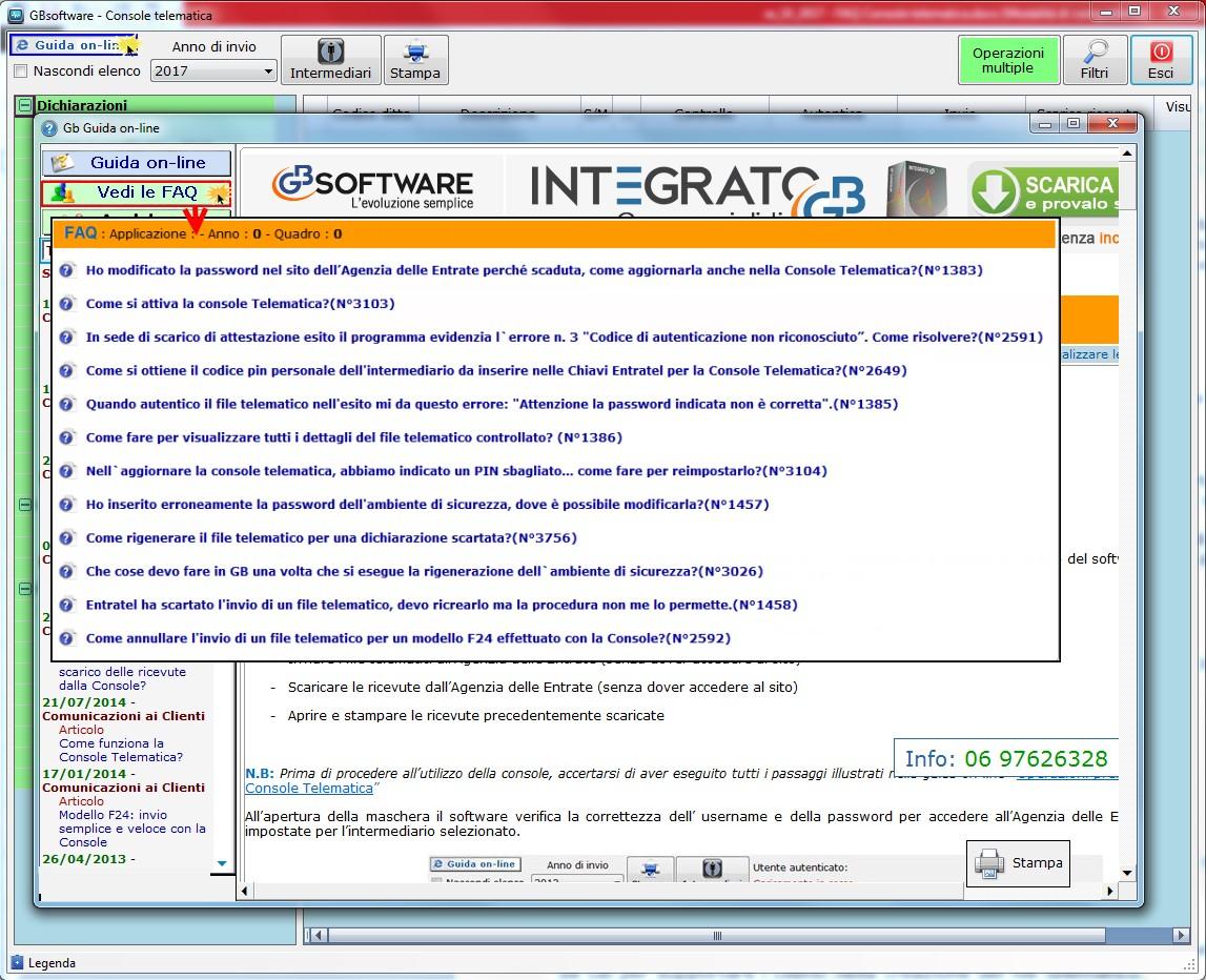 FAQ Console Telematica GB