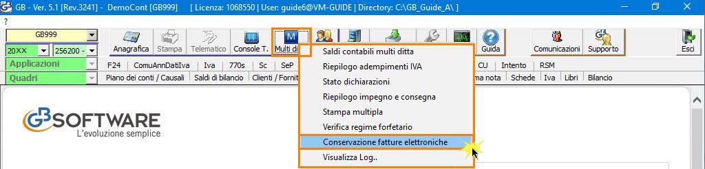 Multiditta > Conservazione Fatture Elettroniche