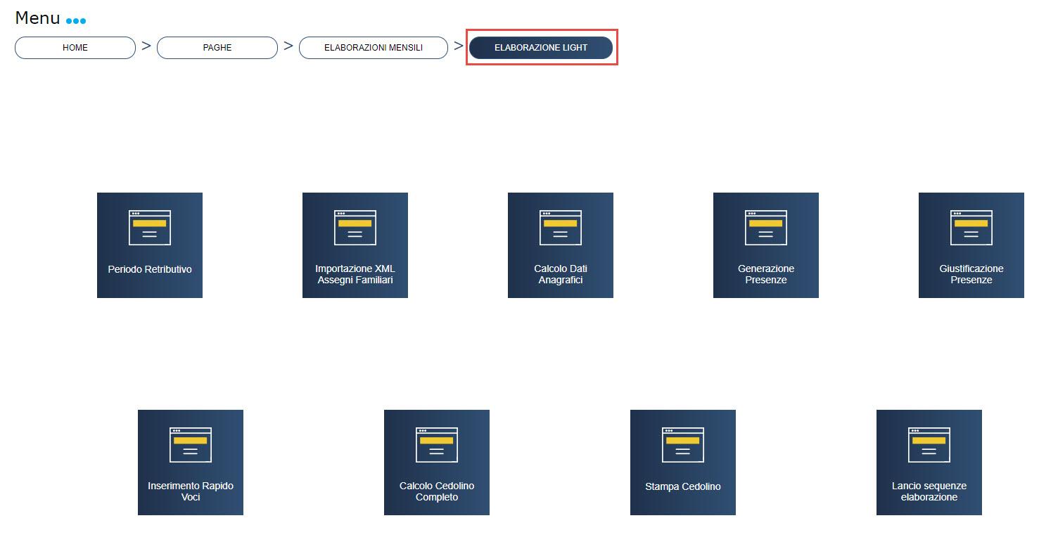 Paghe: menu Elaborazioni Light - Nuova gestione Elaborazioni Light