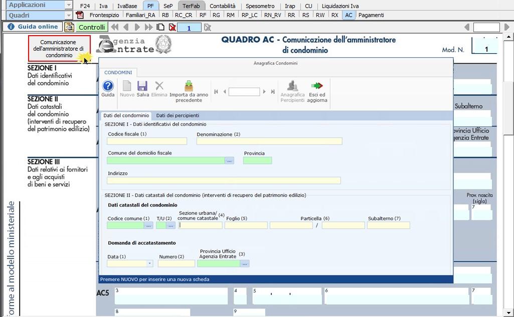 Quadro AC 2018: Comunicazione dell'amministratore di condominio - 1