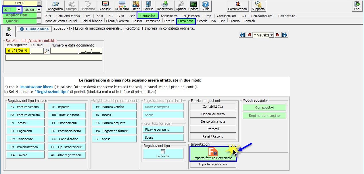 Caso pratico: Registrazione fatture elettroniche prodotte con altri software - 1