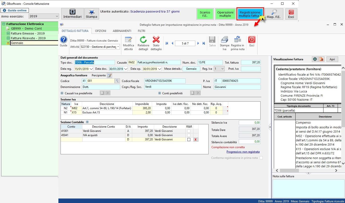Software Importazione fatture elettroniche XML in Prima Nota - Accesso da Console Fatturazione
