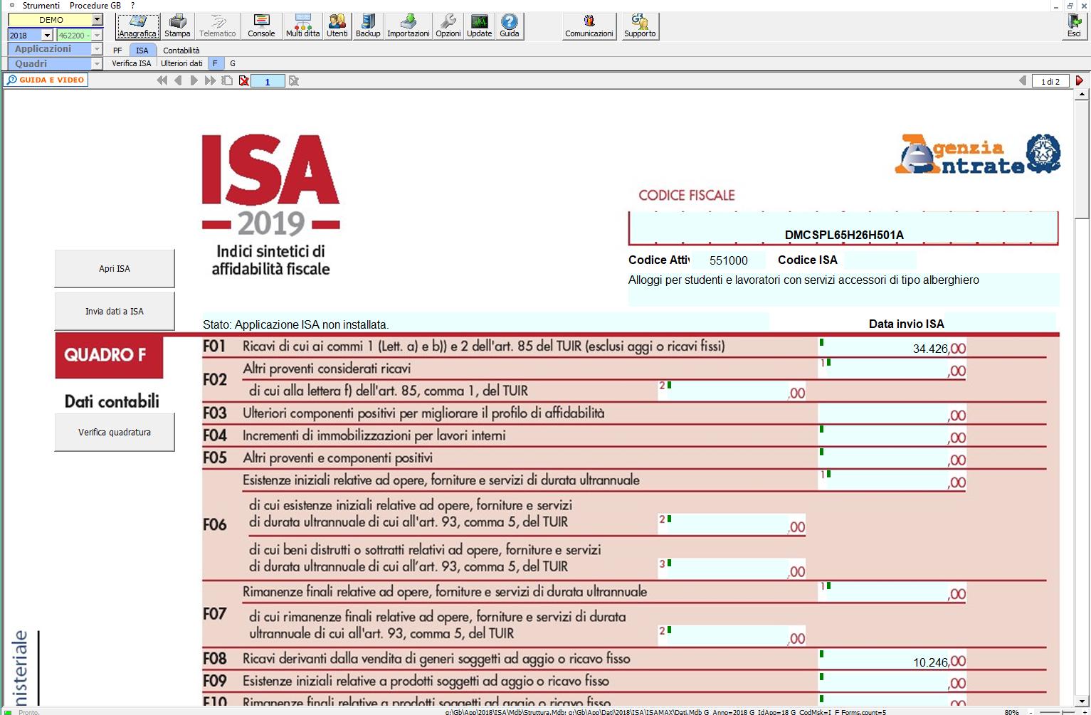 Software ISA 2019 (Indici sintetici affidabilità fiscale)