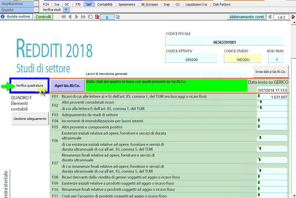 Studi e Parametri 2018: Verifica Quadratura - 1