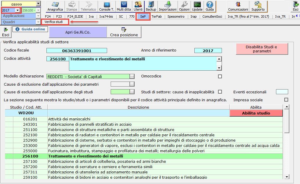 Studi di Settore e Parametri 2018: rilascio applicazione - 2
