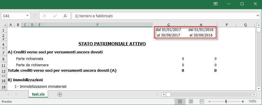 Stampa in Excel