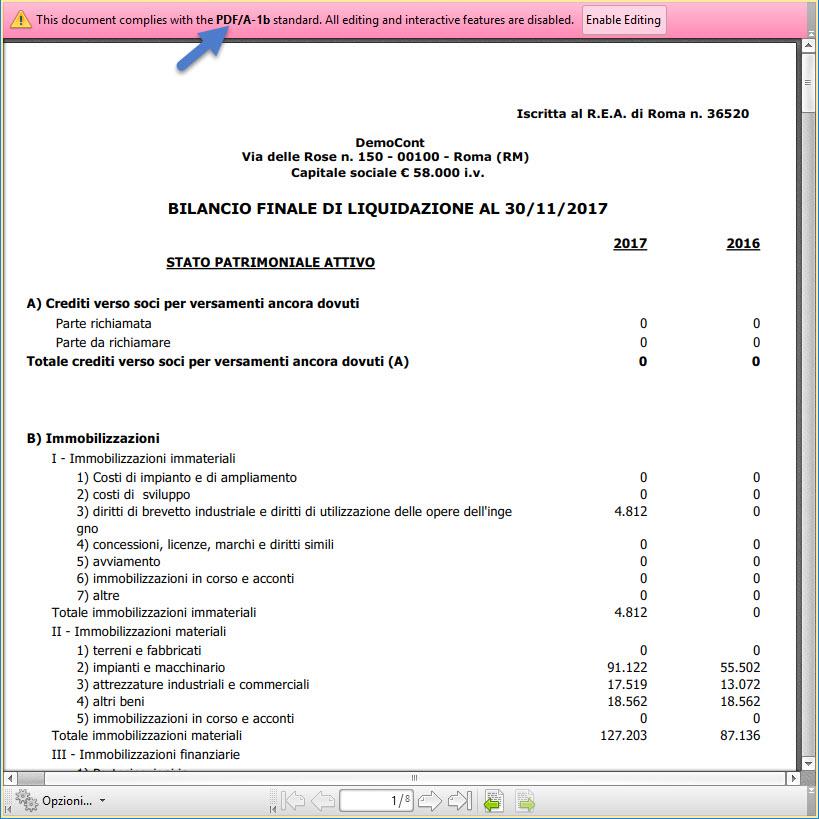 Bilancio conforme agli standard della Camera di Commercio