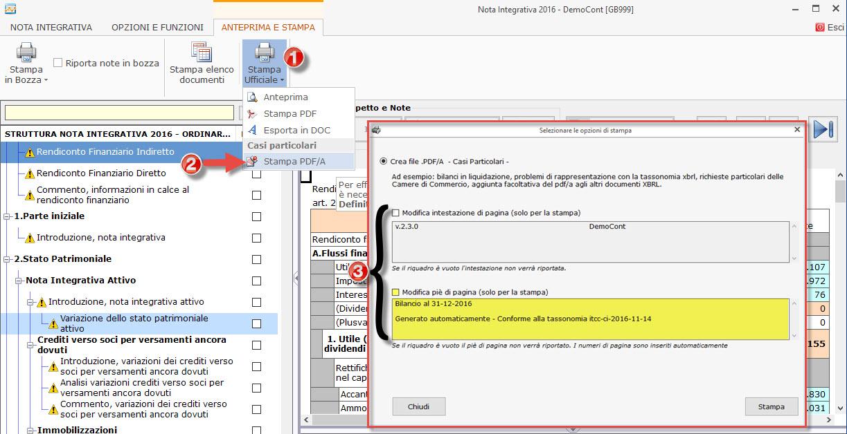 Modifica piè di pagina su nota integrativa Xbrl