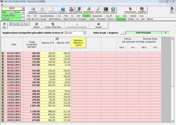 Software Corrispettivi - Software Contabilità GB studi ed aziende