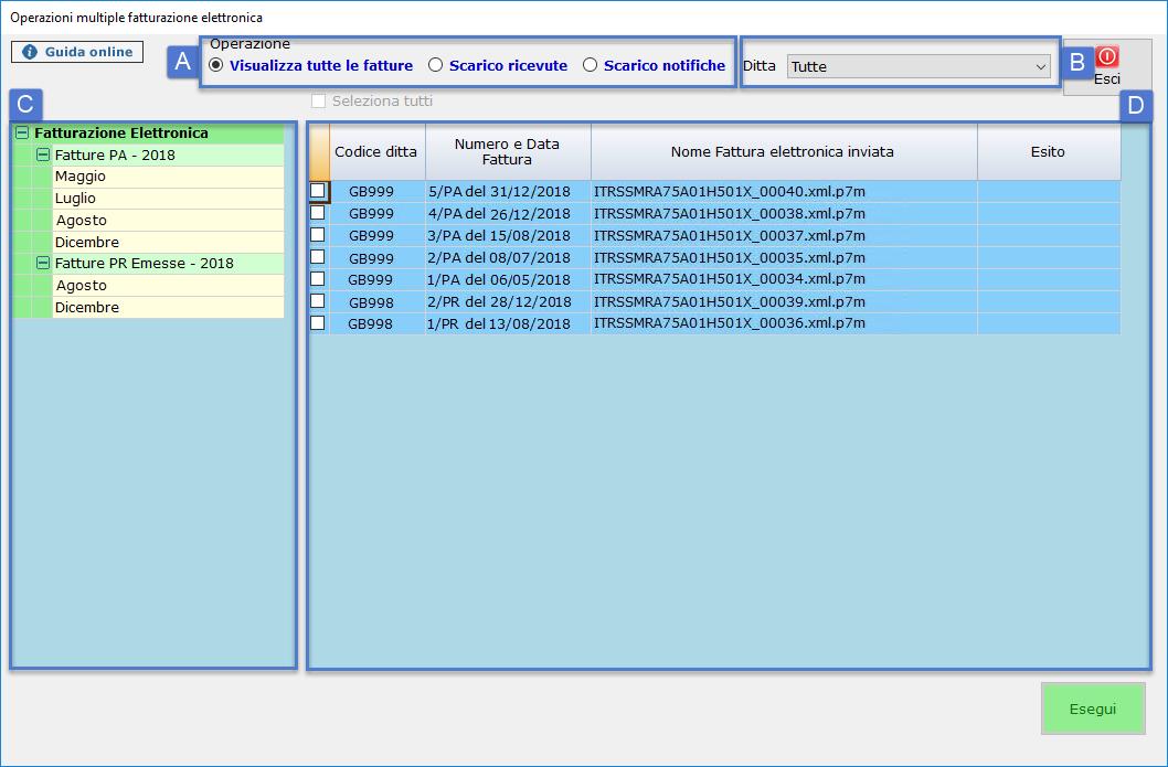 Operazioni Multiple Visualizzazione fatture