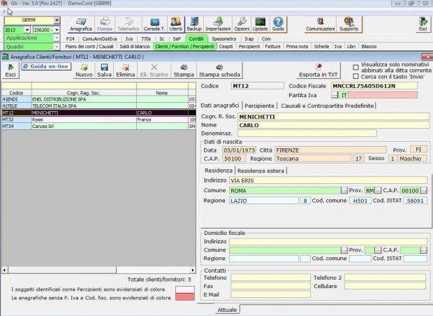 Contabilità Ordinaria e Semplificata Anagrafica Clienti Fornitori
