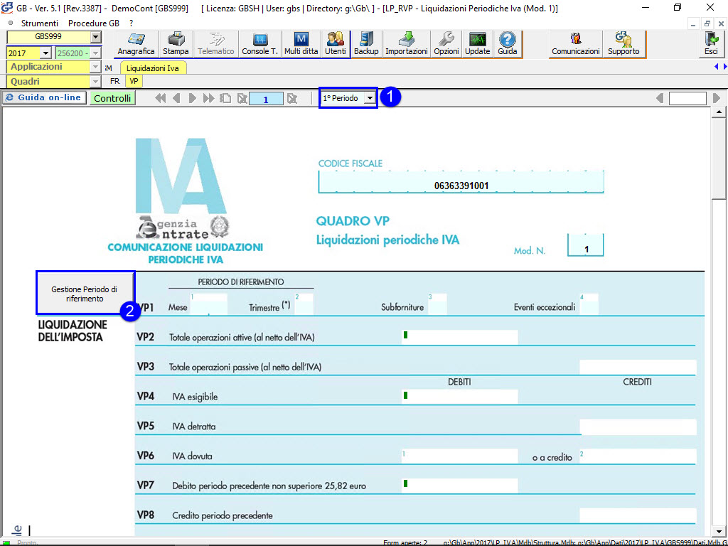 Quadro VP - Comunicazione Liquidazioni IVA periodiche