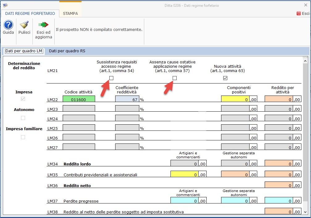 Compilazione Quadro LM 2019: contribuente forfetari - 2