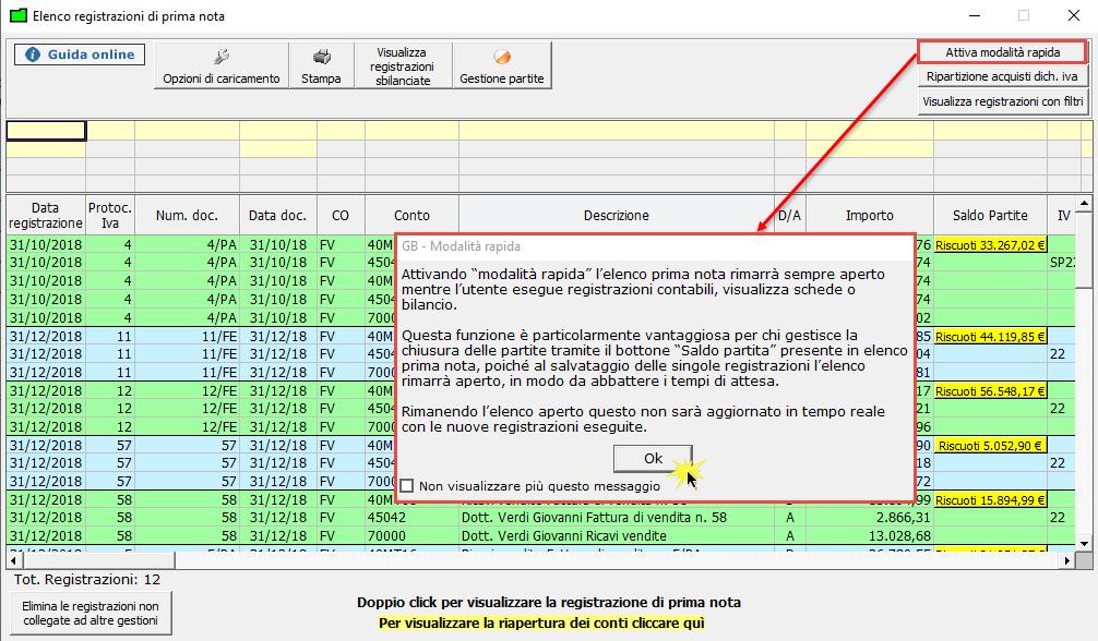 Elenco Prima Nota: attivazione della modalità rapida di visualizzazione - Messaggio informativo per l'utente