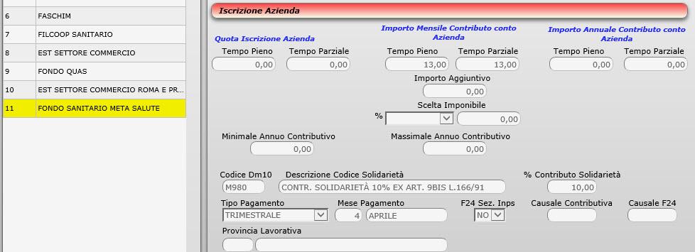 Tabella FONDI SANITARI INTEGRATIVI - 2