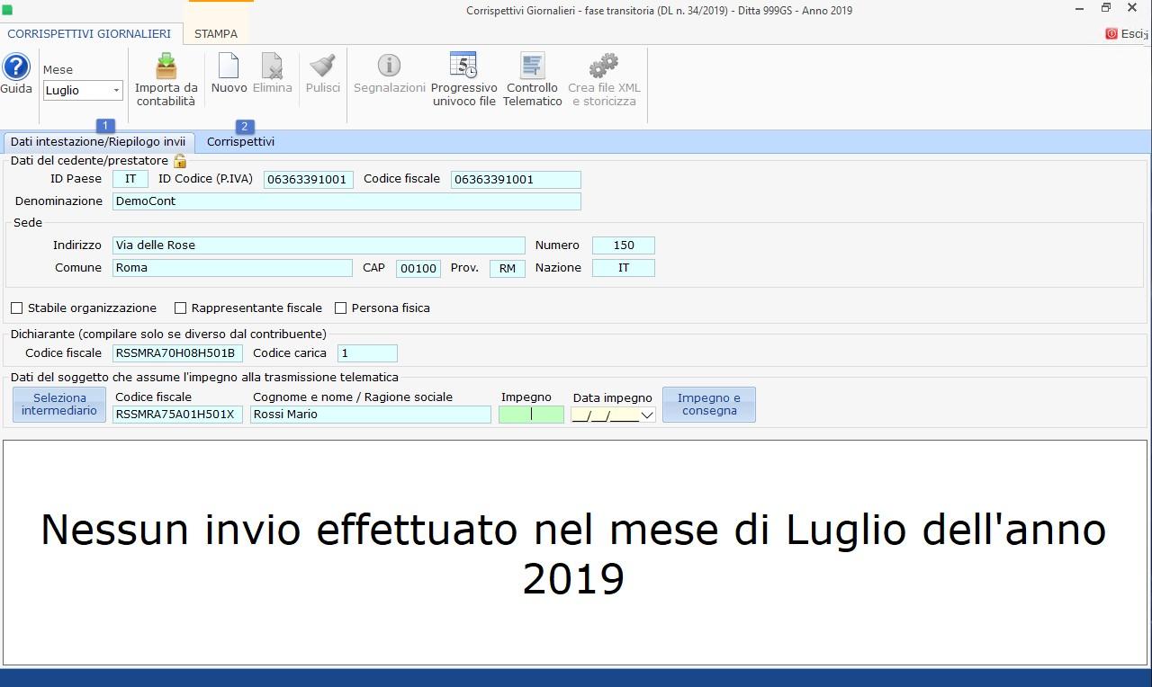 Invio Corrispettivi giornalieri 2019: rilascio applicazione - 2