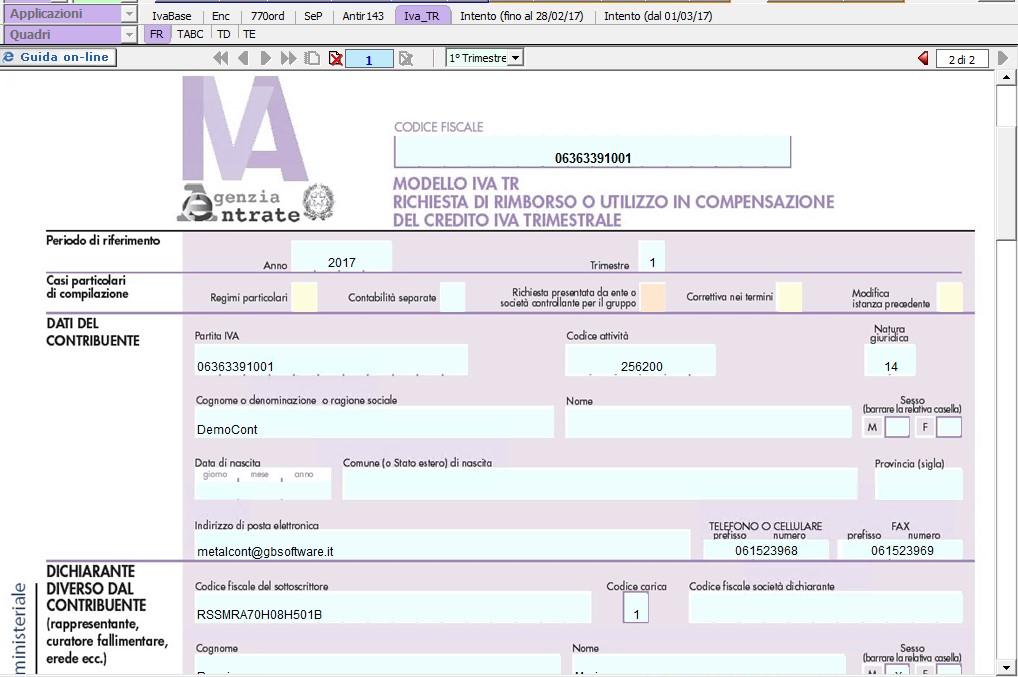 Modello ministeriale IVA TR 2017