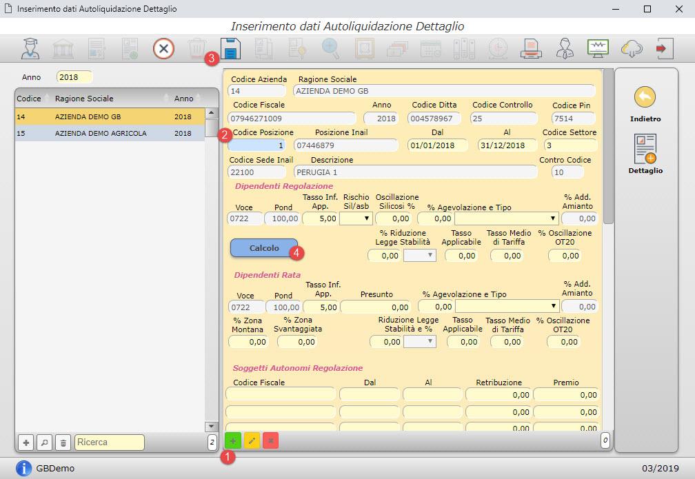 Paghe GB Web 2019: Autoliquidazione INAIL - 2