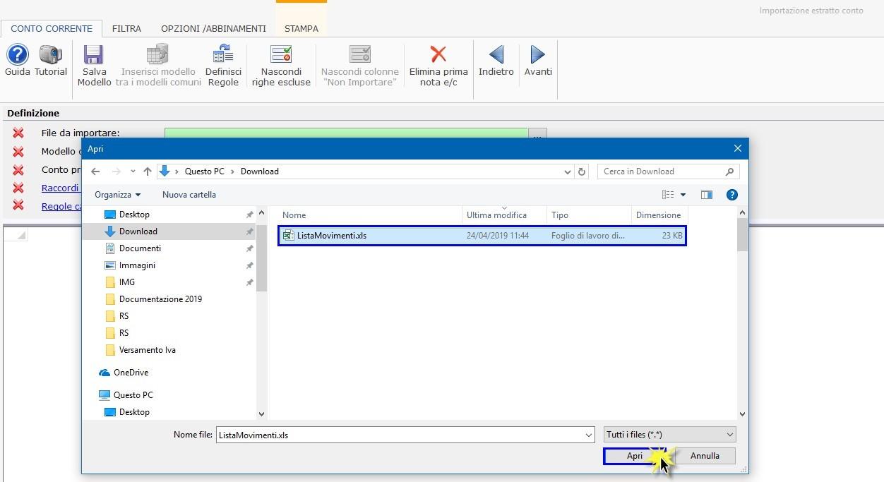 Software Importazione estratto conto bancario - Selezione dei file da importare