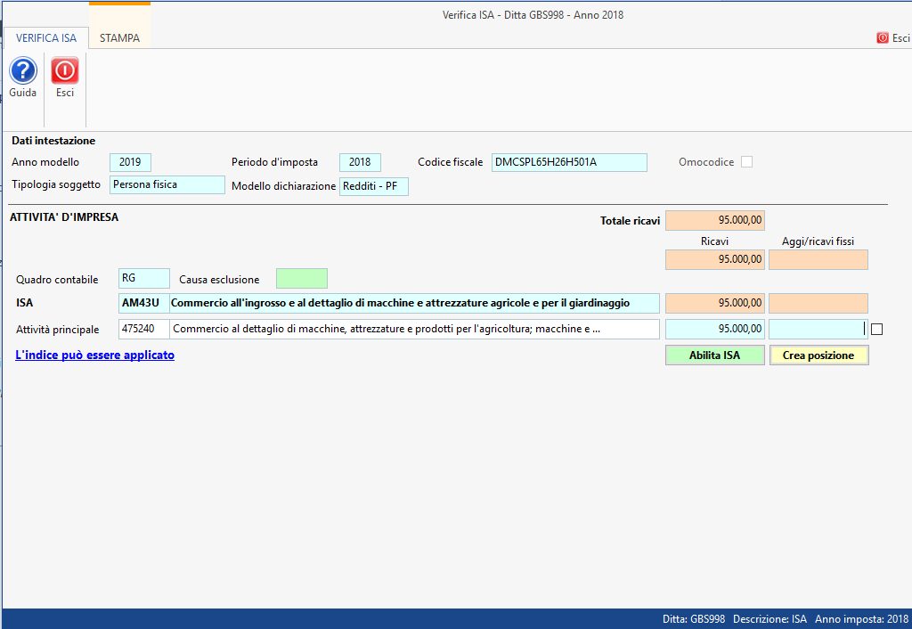 Funzione Verifica ISA (Indici sintetici affidabilità fiscale)