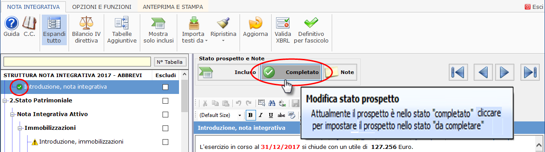 Nota Integrativa 2018: Stato del prospetto e Note - 2