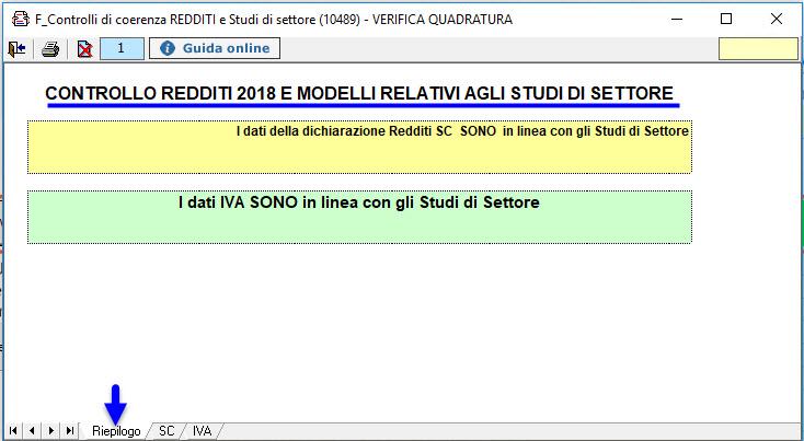 Studi e Parametri 2018: Verifica Quadratura - 2