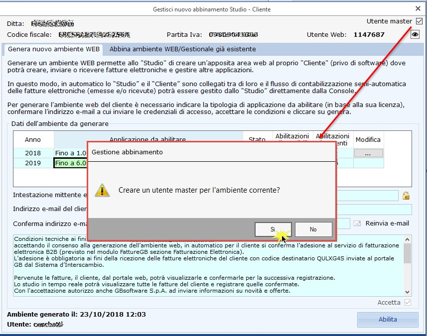 Utente master: unico accesso per lo studio agli ambienti web dei clienti - Conferma creazione Utente master