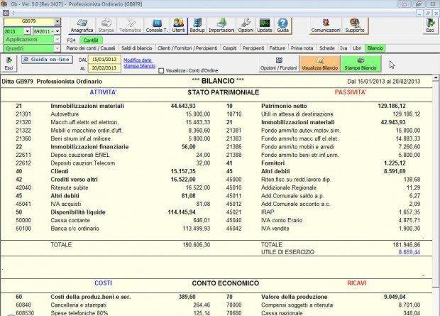 Contabilità dei Professionisti Bilancio Contabile