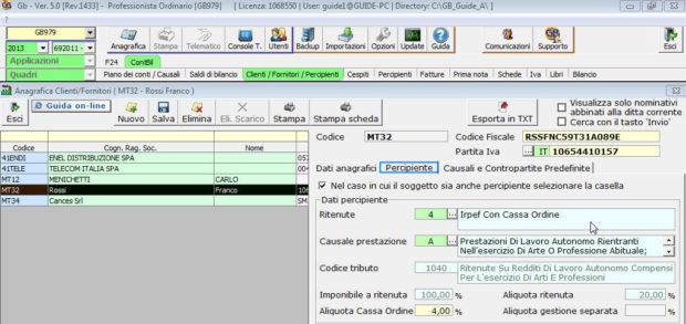 Anagrafica comune clienti/fornitori/percipienti