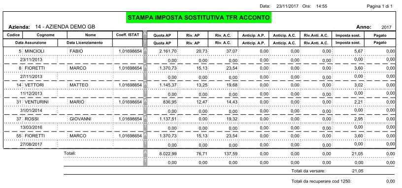 Stampa Imposta Sostitutiva TFR in PDF