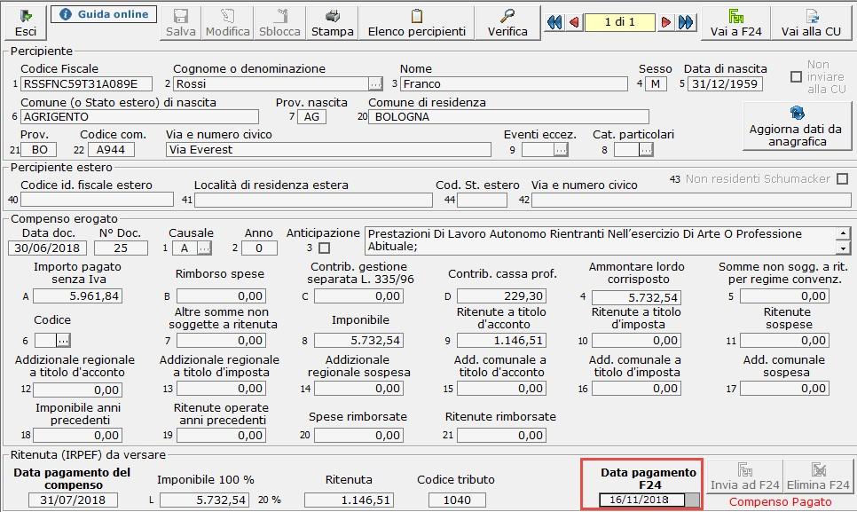 Caso pratico: Registrazione fattura percipiente dopo versamento ritenuta - 3