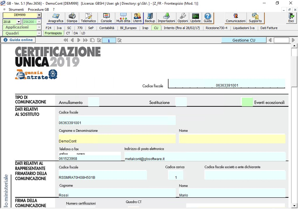 Certificazione Unica in INTEGRATO GB