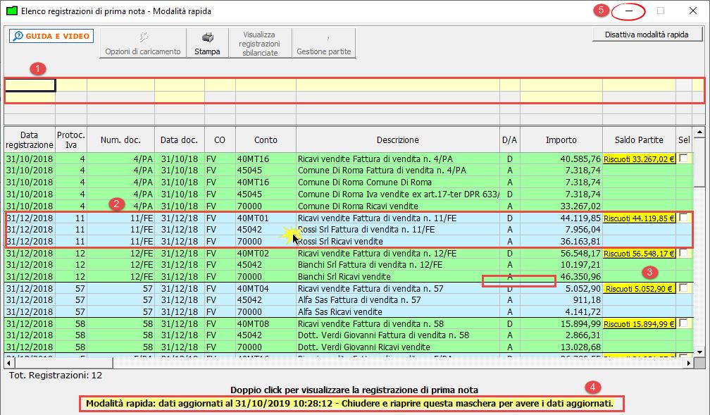 Elenco Prima Nota: attivazione della modalità rapida di visualizzazione - Elenco registrazioni di prima nota in modalità rapida