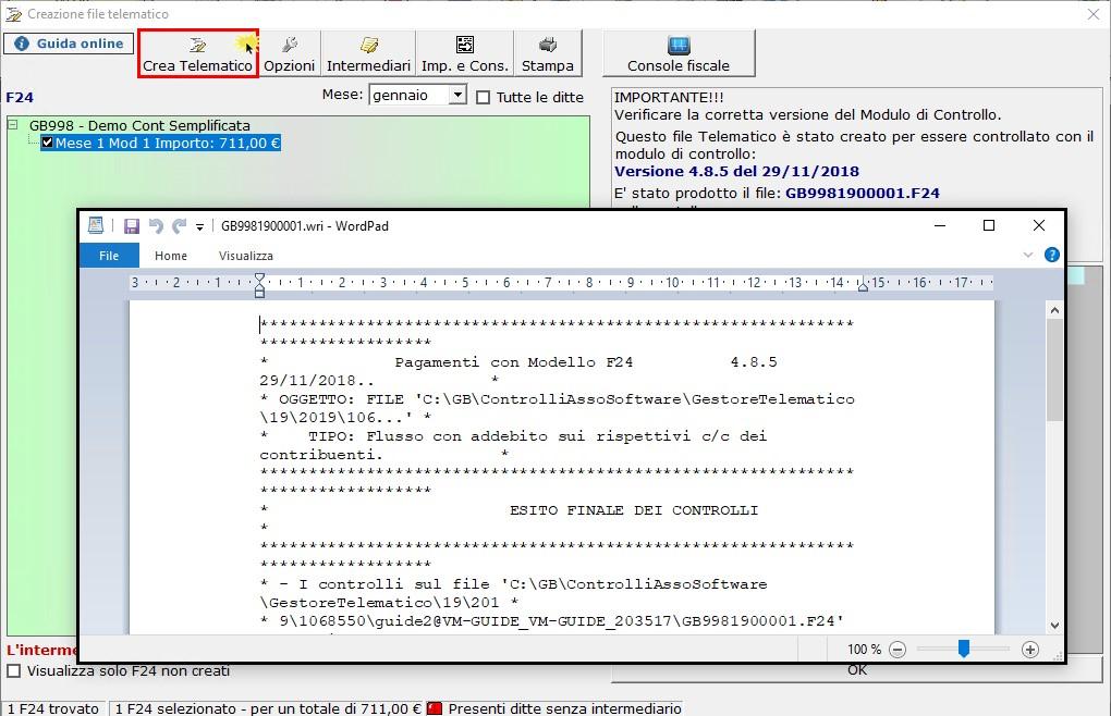 F24 2019: creazione, controllo e invio file telematico - 3