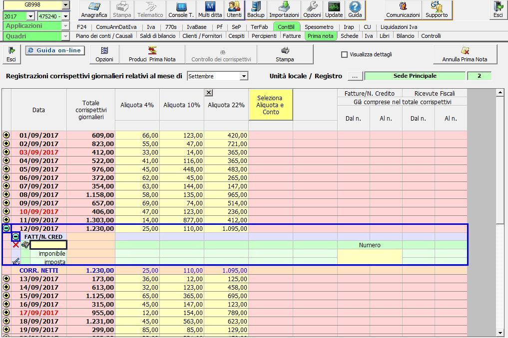 Inserire i dati della fattura
