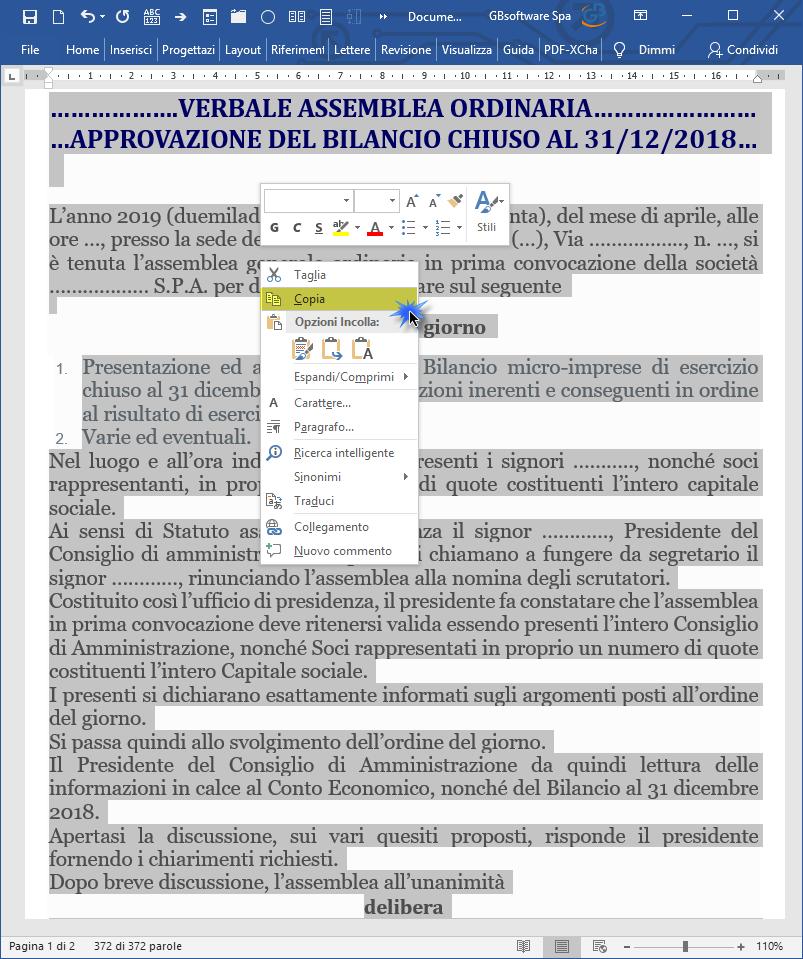Caso pratico: Importare Verbale assemblea redatto con Word / Open Office - 3