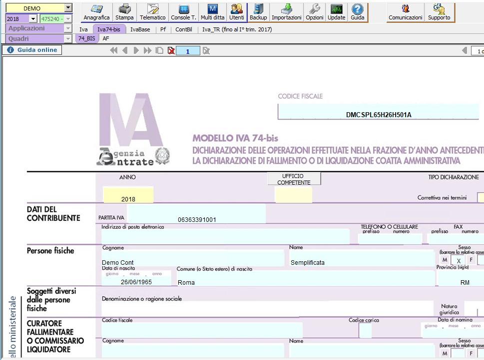 Modello IVA 74-BIS 2018: rilascio applicazione - 3
