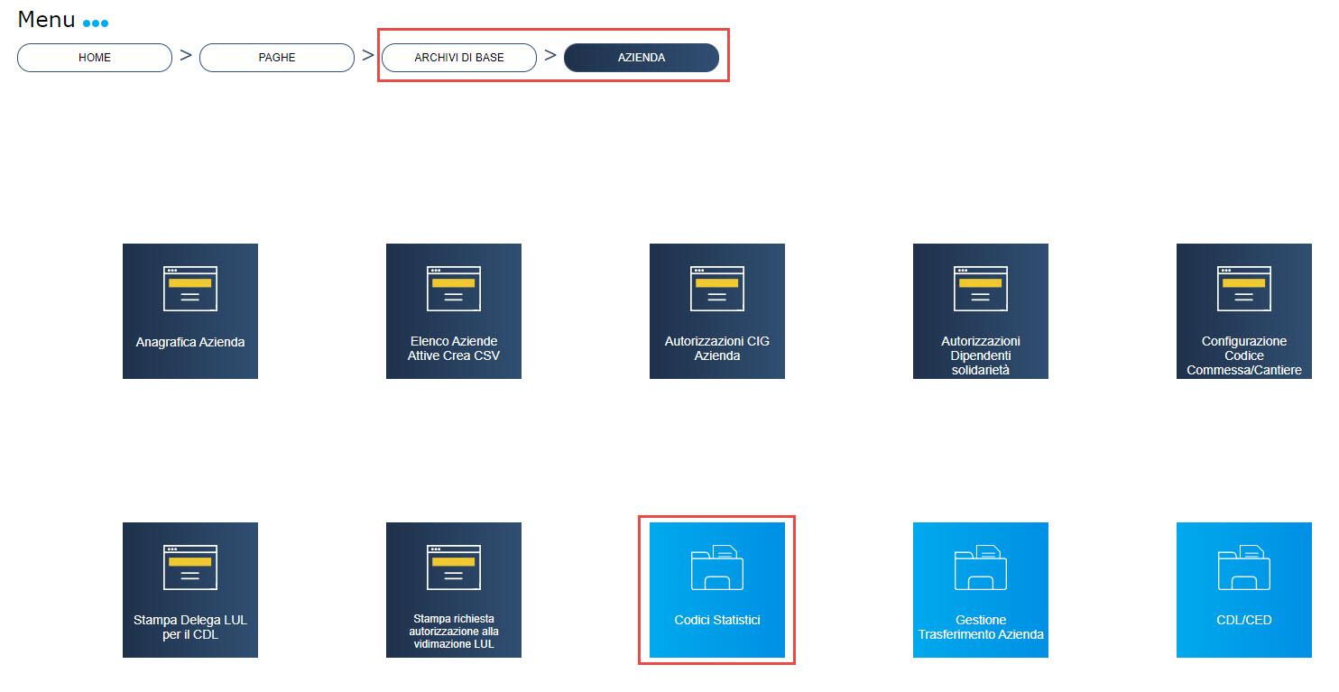 Paghe: menu Elaborazioni Light - Archivi di base > Azienda > Codici statistici