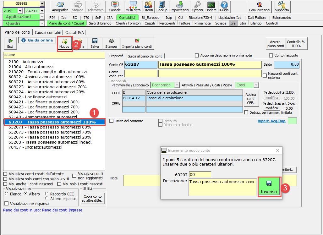 Piano dei conti: personalizzazione e nuovi conti - Inserimento nuovo conto