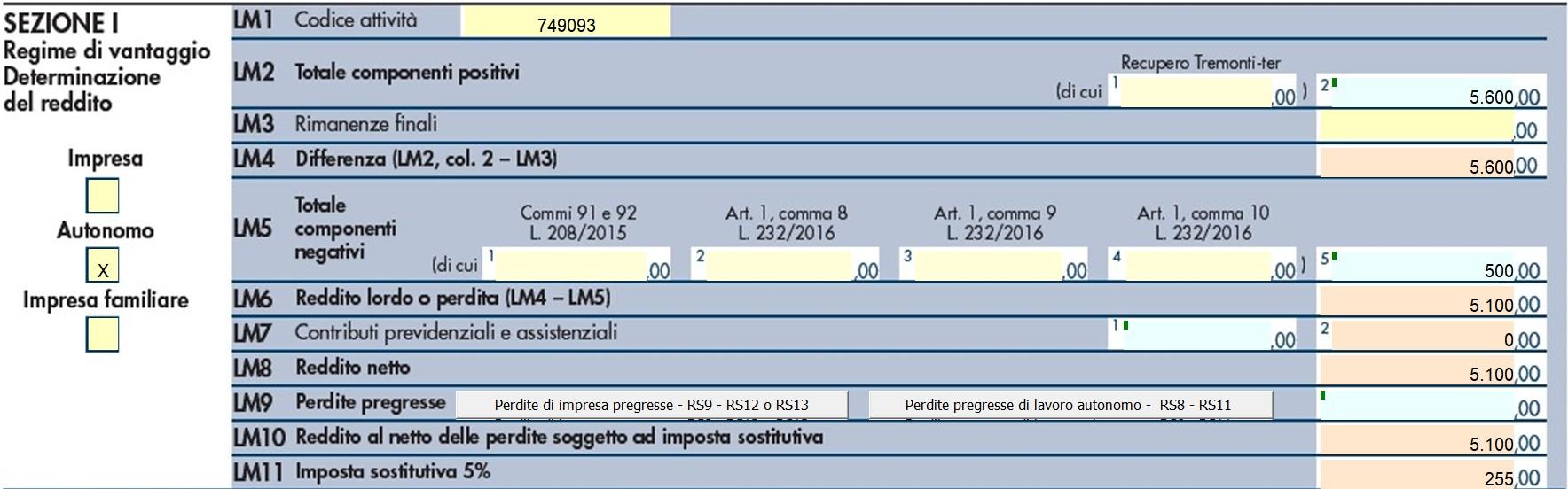 Quadro LM 2018: compilazione contribuente minimo e forfetario - 3