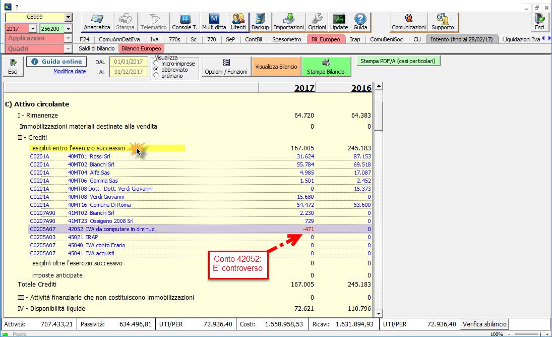 Caso pratico: Saldo del conto non corretto nel Bilancio Europeo - 3