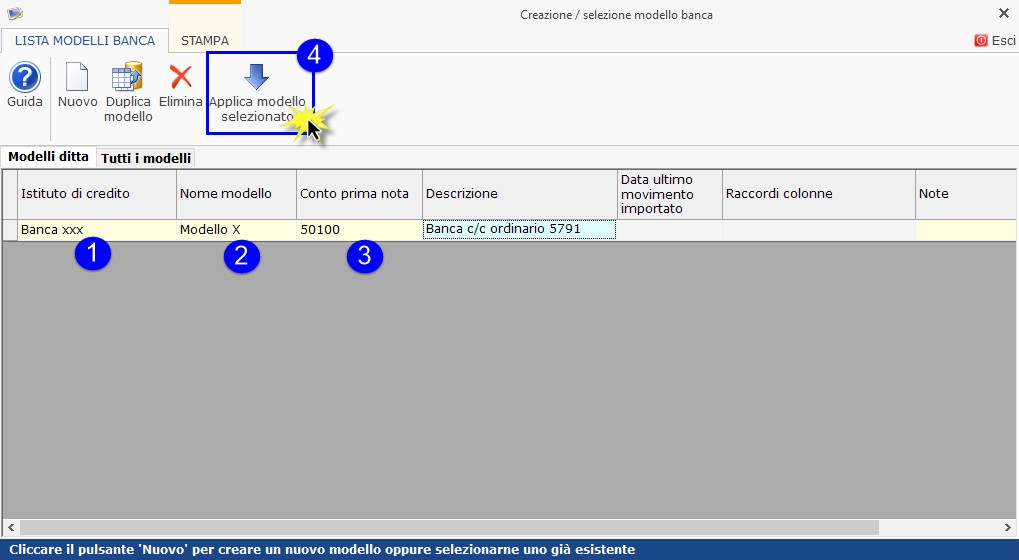 Software Importazione estratto conto bancario - Creazione o selezione modello banca