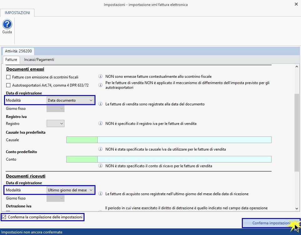 Software Importazione fatture elettroniche XML in Prima Nota - Impostazioni iniziali