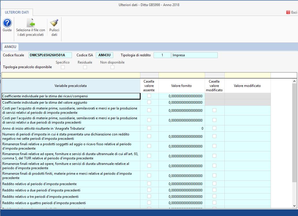 Dati precalcolati ISA (Indici sintetici affidabilità fiscale)
