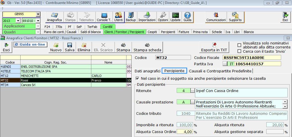 Software regime minimi software contabilit gb for F24 elide prima registrazione