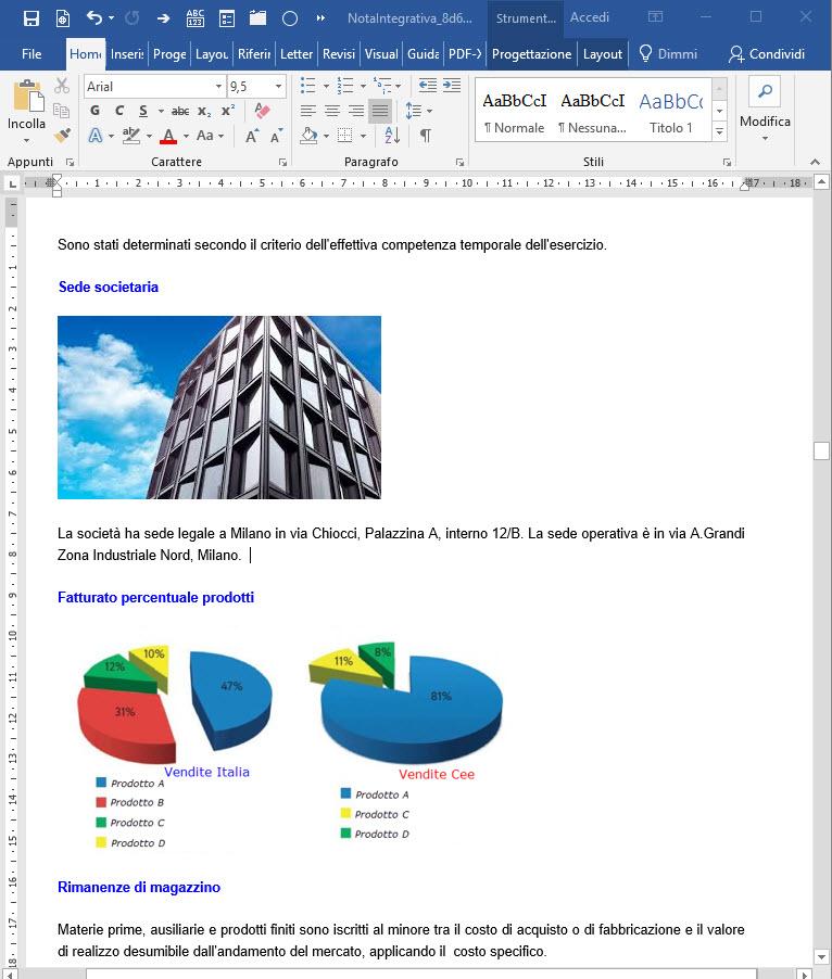 Caso Pratico: Aggiungere grafici ed immagini al bilancio da inviare ai clienti - 4